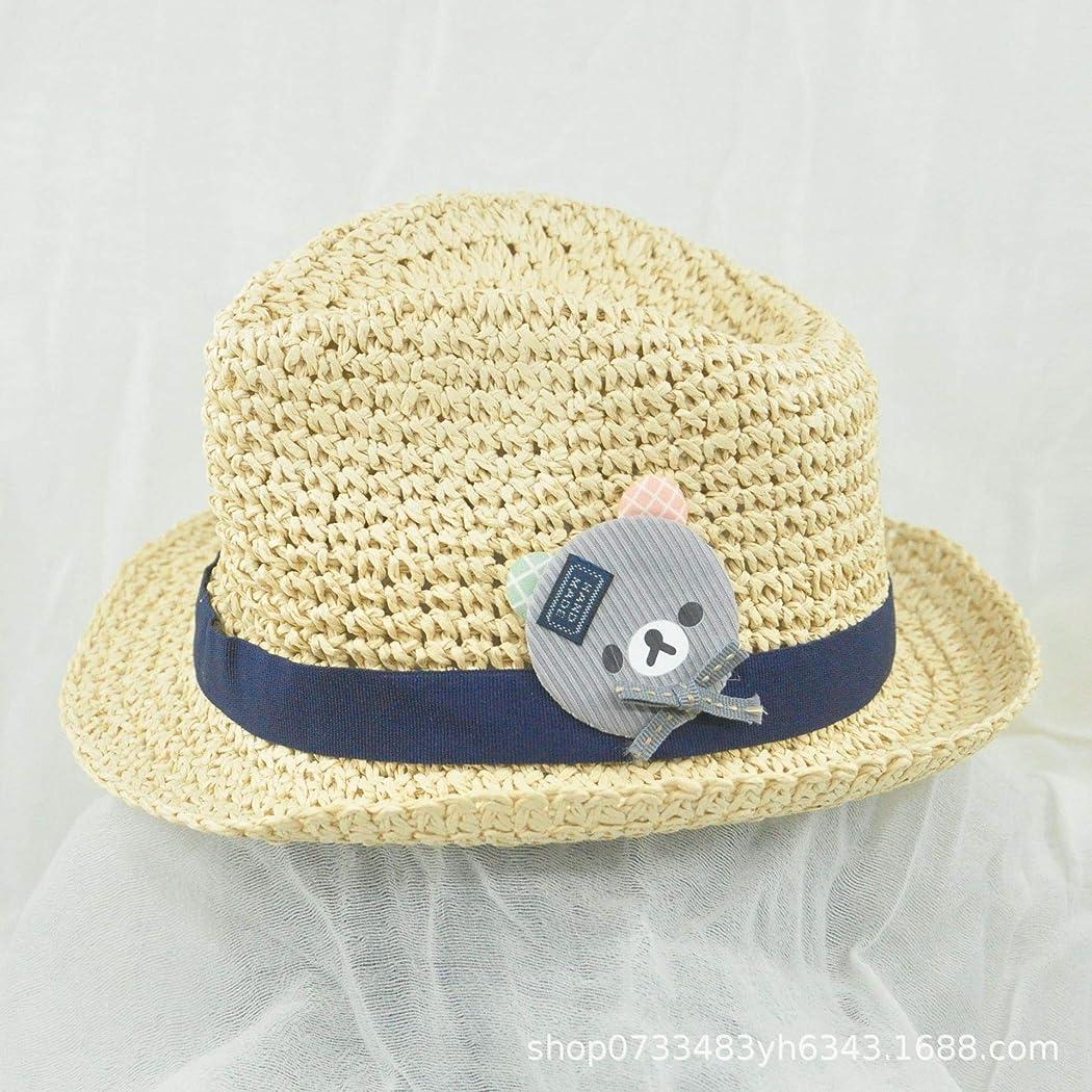 再編成する泥微弱家 男の子と女の子の夏のかわいい漫画熊Yinglunジャズ風のビーチ太陽の帽子の潮野生の薄いセクション通気性の2PC (色 : Off-White, サイズ : S(48CM))