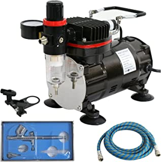 F2C TC-802K Multi-Purpose Pro Airbrushing System Dual Action Air Compressor W/Airbrush Kit