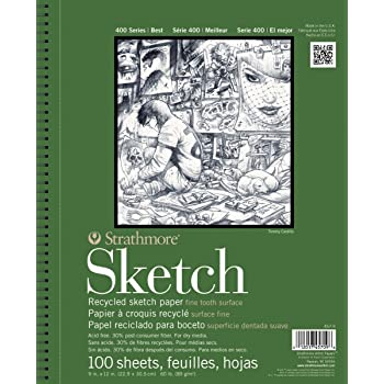 "Strathmore 400 Series Recycled Sketch Pad, 9""x12"", Wire Bound, 100 Sheets"