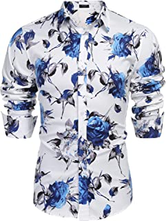 Men's Slim Fit Floral Dress Shirt Long Sleeve Casual Button Down Shirts
