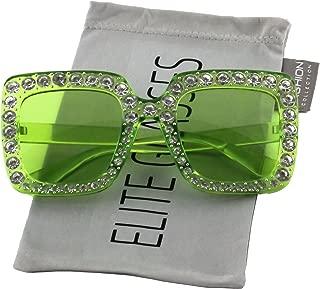 Elite Oversized Square Frame Bling Rhinestone Crystal Brand Designer Sunglasses For Women 2018