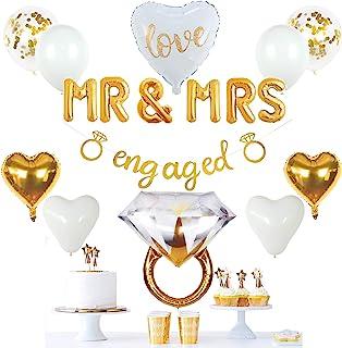 ديكورات حفلات خطوبة ذهبية من فيدال كرافتس، لافتة ذهبية، بالون MR&MRS، خاتم عملاق، بالونات القلب، بالونات القصاصات اللاتكس ...