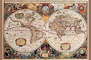 World Map 17th Century Antique Vintage Historic Educational Classroom Globe Projection Cool Wall Decor Art Print Poster 12x18