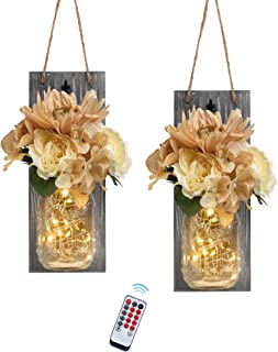 Besuerte Mason Jar Wall Sconces with Remote Farmhouse Wood Wall Art Decorfor Home Living Room Bedroom Decorations with Ro...