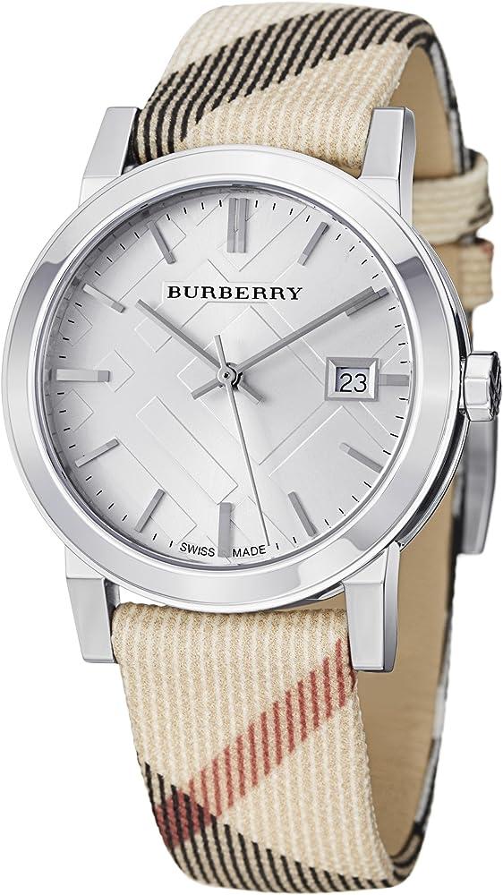 Burberry,orologio unisex, cassa in acciaio inossidabile,quadrante argento, vetro zaffiro e  cinturino in pelle BU9113