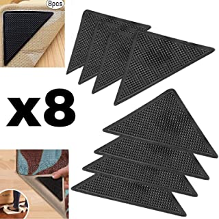 Protect Carpet Triangle Rug Grip Tape (8 pc. Set) Corner Edging Adhesive Gripper | Kitchen, Hallway, and Living Room Runners, Mats, or Loose Carpet | Non-Slip Floor Protection