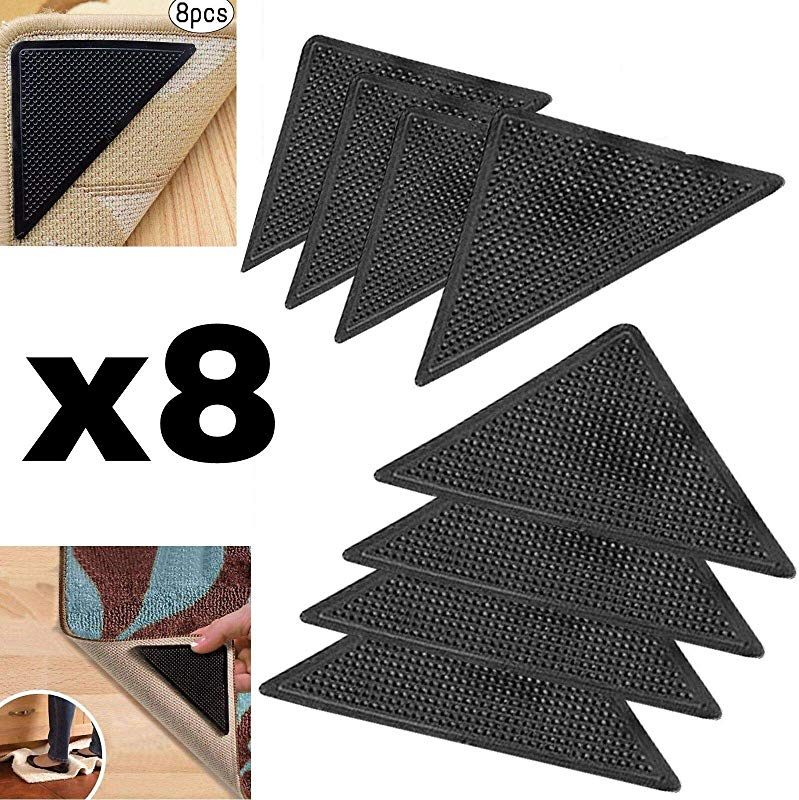 Protect Carpet Triangle Rug Grip Tape 8 Pc Set Corner Edging Adhesive Gripper Kitchen Hallway And Living Room Runners Mats Or Loose Carpet Non Slip Floor Protection