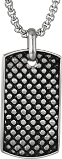 Steve Madden Men's Checkerboard Design Dog Tag Necklace in Stainless Steel