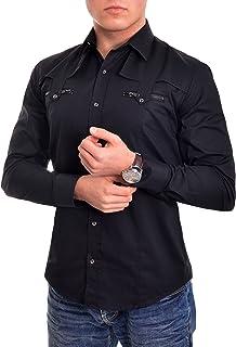Men's Dress Shirt Zip Pockets Epaulettes Silver Buttons Casual Evening Smart Men