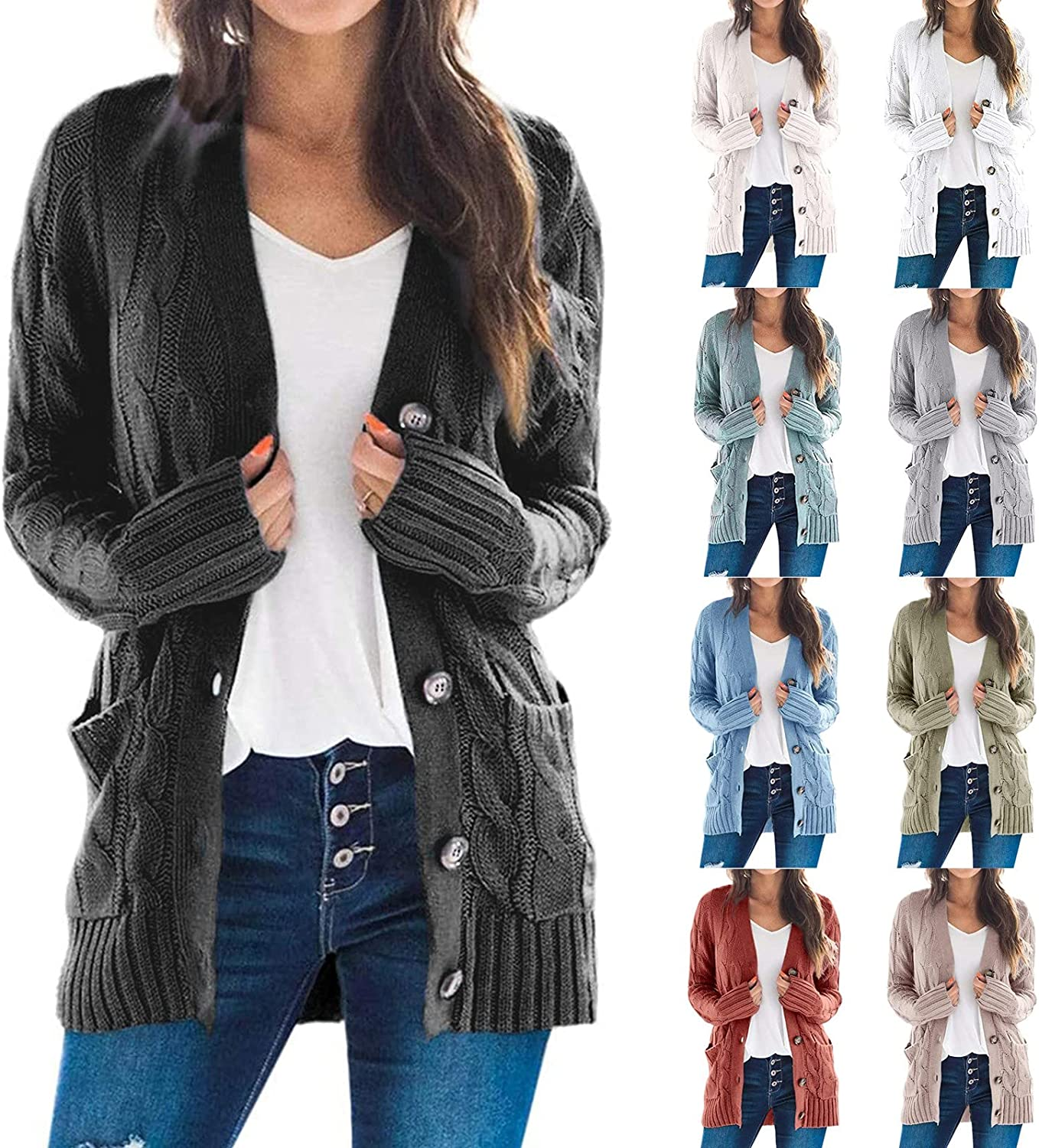 SERYU Women's Button Loose Cardigan Long Sleeve Cable Knit Sweater Open Front Outerwear