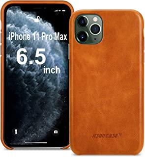 JISONCASE iPhone 11 Pro Max case, iPhone 11 Pro Max Genuine Leather Case Slim Back Cover Protective Leather Cases for iPhone 11 Pro Max 6.5 inch (Brown)