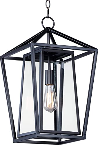 "Maxim 3178CLBK Artisan Stainless Steel Outdoor Pendant Ceiling Light, 1-Light 60 Watt, 21""H x 12""W, Black"