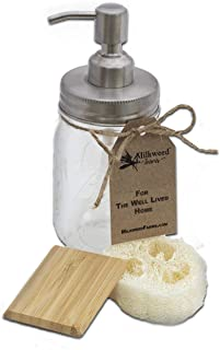 Milkweed Farms Premium Rust Resistant 304 Stainless Steel Mason Jar Soap Dispenser with 16 oz Ball Jar
