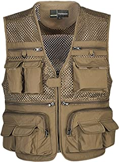 Zhusheng Mens Mesh Outdoor Work Fishing Travel Photo Vest with 16 Pockets Khaki