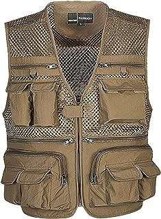 Mens Summer Outdoor Work Safari Fishing Travel Photo Vest with Pockets (X-Large, Khaki-mesh)