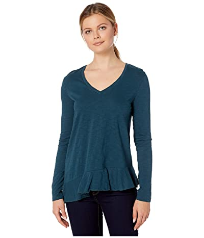 Lilla P Loose Knit Slub Long Sleeve Ruffle Hem Tee (Everglade) Women