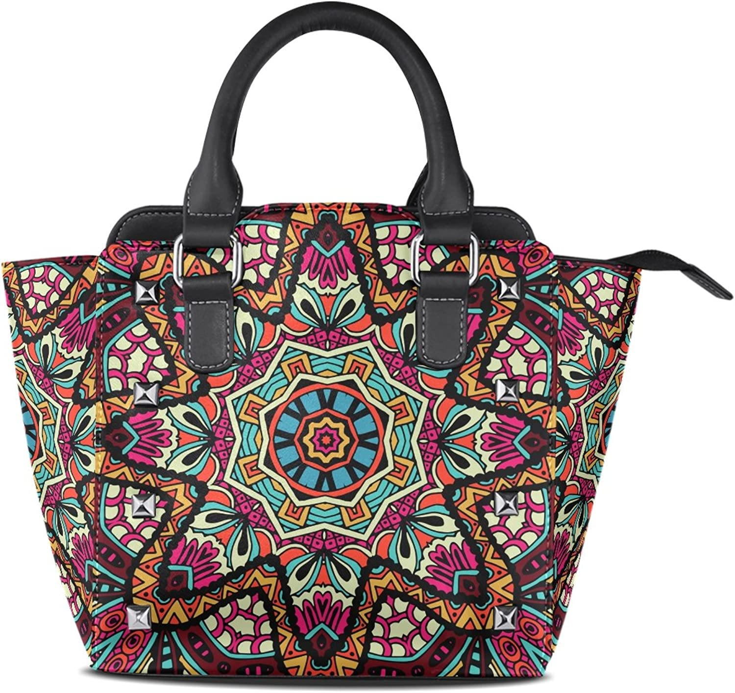 Sunlome Abstract Geometric Fashion Tribal Ethnic Floral Print Handbags Women's PU Leather Top-Handle Shoulder Bags
