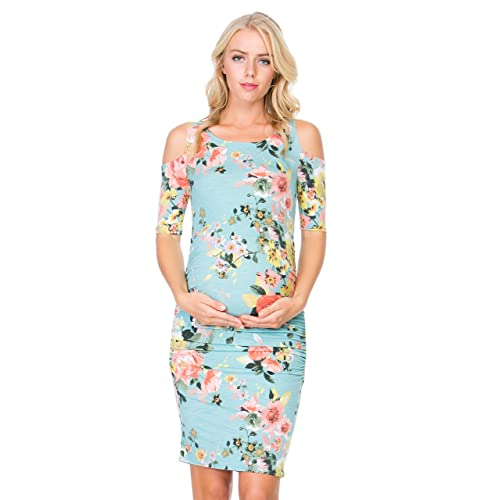 7d93721785f My Bump Women s Cold Shoulder Fitted Maternity Dress W Side Ruched
