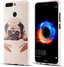 J&D Case Compatible for Huawei Honor V9 / Huwei Honor 8 Pro Case, [Drop Protection] [Slim Cushion] Shockproof Protective TPU Slim Case for Huawei Honor V9, Huwei Honor 8 Pro Bumper Case - Pug