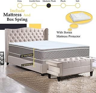 GREATON 10-Inch Meduim Plush Eurotop Pillowtop Innerspring Mattress And 4