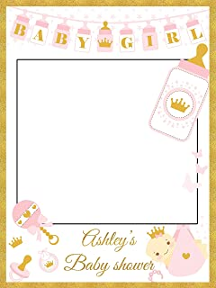 Custom Pink & Gold Princess Crown and Toys Royal Baby Shower Photo Booth Frame - Sizes 36x24, 48x36; Personalized Baby Shower Photo Frame Photo Prop; Handmade Baby Shower Banner Decorations
