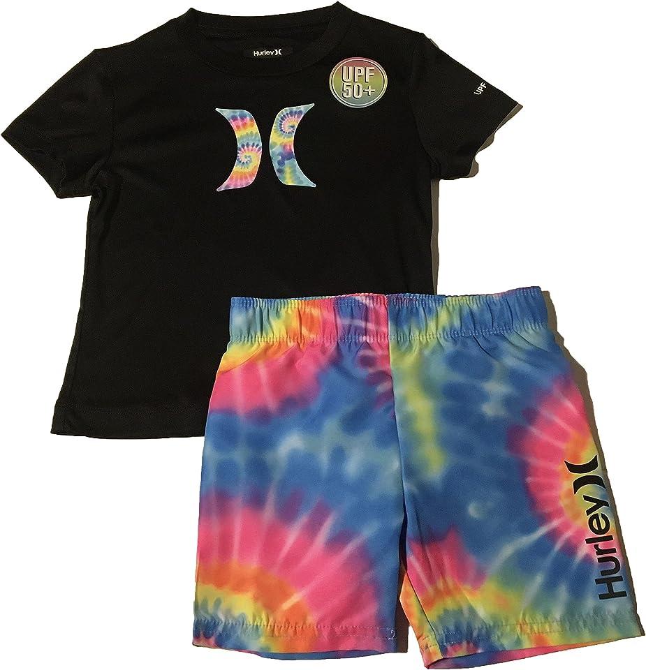 Hurley Toddler Boys' Rash Guard T-Shirt and Swim Trunks Set Black Multi Size 3T