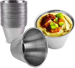 [24 Pack] 2.5 oz Stainless Steel Sauce Cups - Individual Round Condiments Ramekins, Commercial Grade Safe/Portion Dipping ...
