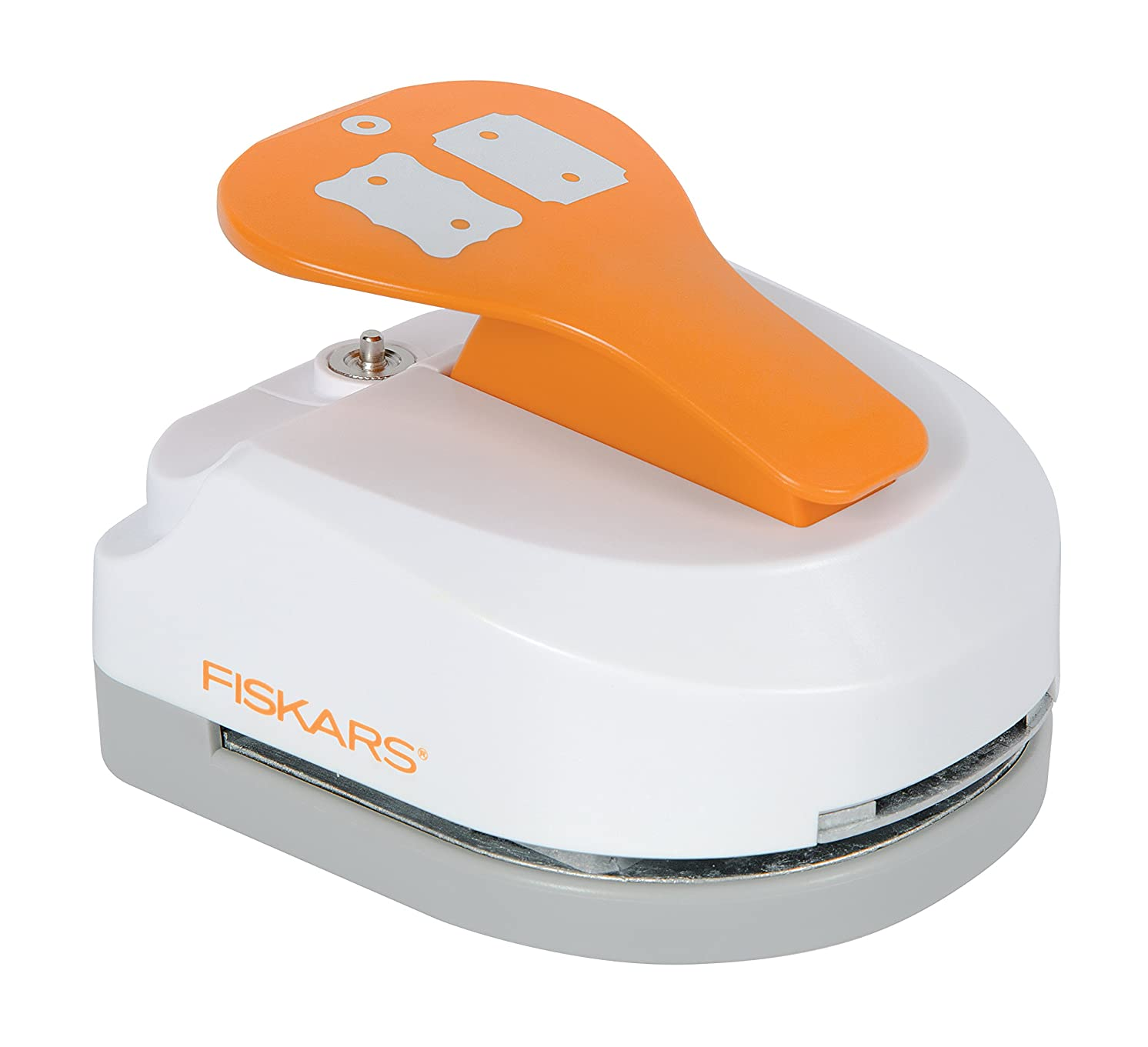 Fiskars 197690-1001 Double Tag Maker with Built-in Eyelet, Ticket and Curly, Orange/White