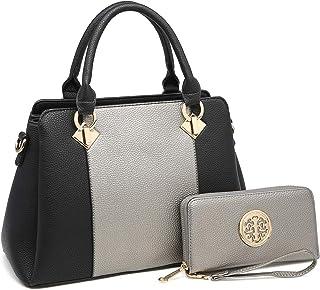 MK 皮带系列 时尚女式手提包 ~ 人造皮革挎包 手提包 顶部提手钱包 经典/时尚手提包 E-8013-(sl/Bk) MEDIUM SIZE