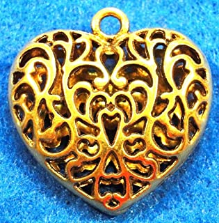 5Pcs. Tibetan Antique Gold Heart Large Puffy Pendants Beautiful Charms H177 Crafting Key Chain Bracelet Necklace Jewelry Accessories Pendants