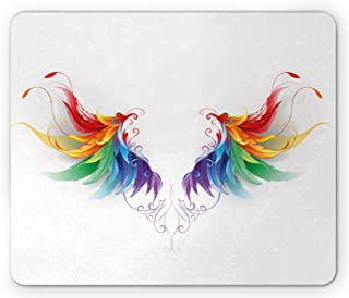 Lunarable Rainbow Mouse Pad, Realistic Looking Feathers in Rainbow Color Forming Wings Flight Angels Symmetrical, Rectangl...