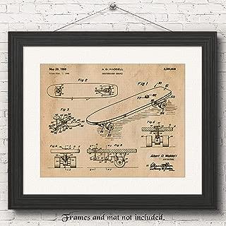 Original Skateboard Patent Poster Prints, Set of 1 (11x14) Unframed Photo, Great Wall Art Decor Gifts Under 15 for Home, Office, Studio, Garage, Man Cave, College Student, Teacher, Summer X-Games Fan