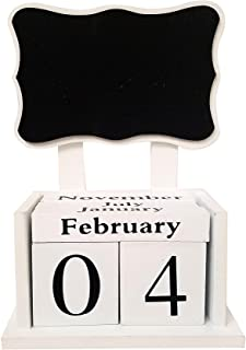 """Wooden Block Calendar with Chalkboard � Black and White � Organizer and Planner � Perpetual Desk Calendar � Stylish and Unique � Black Board (6""""x3""""x8.5"""")"""