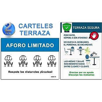 Señalización Terraza Covid-19 | Pack 2 Carteles Terraza Bar ...