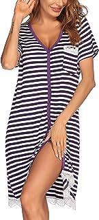 Women's Nightgown Striped Tee Short Sleeve Sleep Nightshirt Breastfeeding Loungewear..