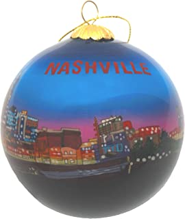 Hand Painted Glass Christmas Ornament – Nashville, Tennessee Night Skyline