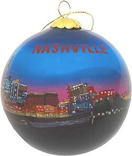 Nashville Night Skyline Glass Ornament