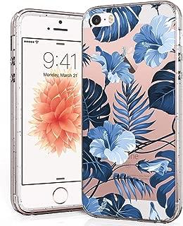 i-Pasn iPhone SE/5s/5 Case Slim Shockproof Clear Pattern Fashion Colourful Design Anti-Fingerprint Scratch-Resistant Protective Cover for Apple iPhone SE,Blue Flower