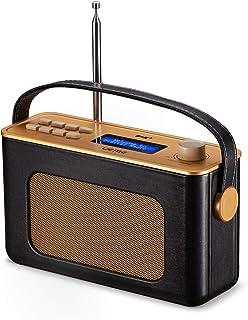 retro radio bluetooth UEME Retro Digitalradio mit Bluetooth, DAB DAB UKW Radio, Radiowecker, und Leder Verkleiden Schwarz