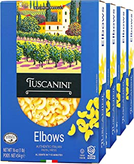 Tuscanini Authentic Italian Elbow Macaroni Pasta 16oz (4 Pack) Made with Premium Durum Wheat , Done in 7-10 Minutes