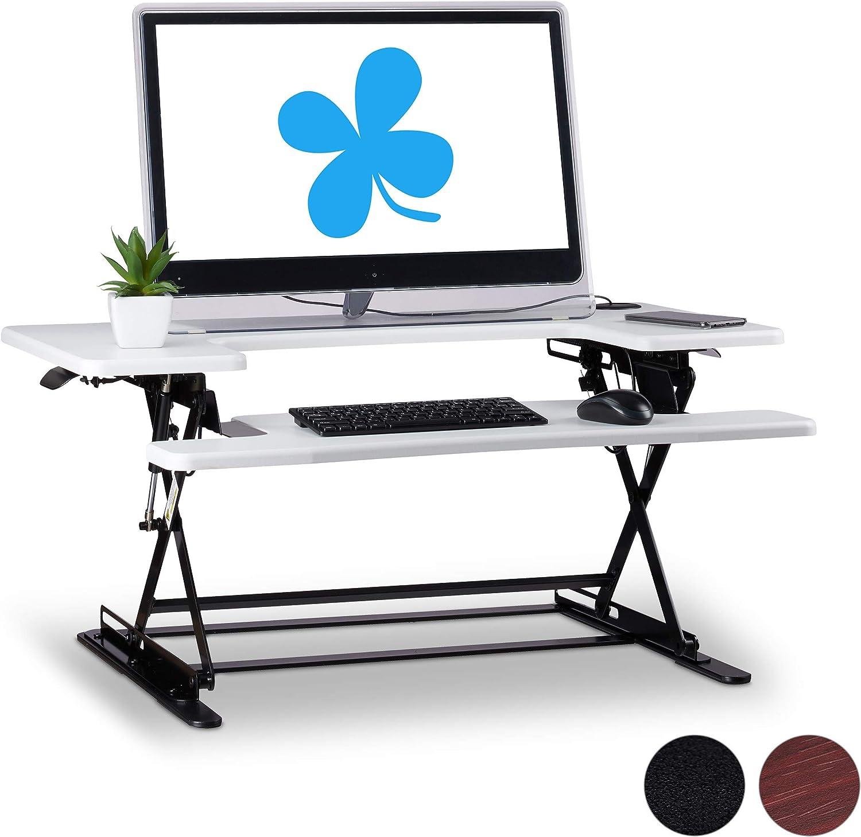 Relaxdays Sitz-Steh-Schreibtischaufsatz, professionelle Sit Stand Workstation, hhenverstellbar, Tastatur-Ablage, wei