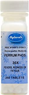 Hyland's Ferrum Phosphoricum 30X Tablets, Natural Homeopathic for Fevers, Redness or Fatigue, 250 Count
