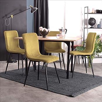 Furnish 1 Lot de 4 chaises de Salle a Manger de Style scandinave avec Un revêtement de Velours Jaune, Pieds métal Noirs Travail à Distance Chaise de