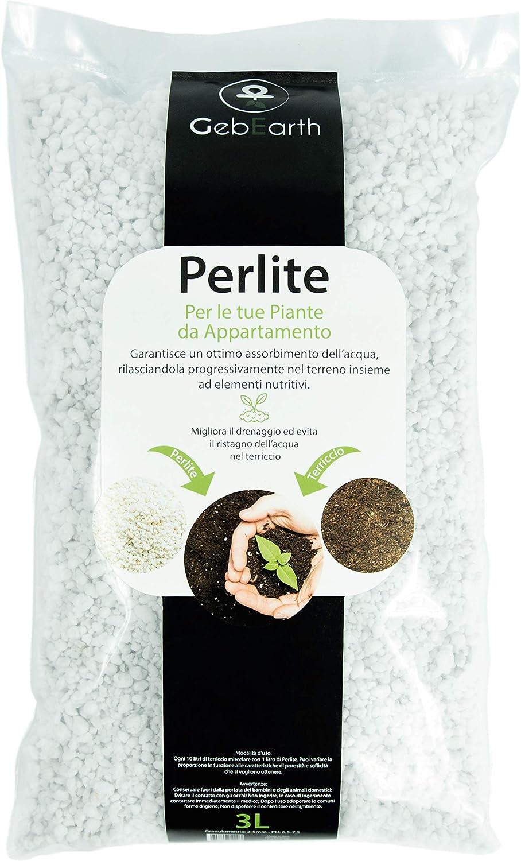 GebEarth - Perlita de jardín para Plantas de Aparato【Perlita expandida de 3 litros】