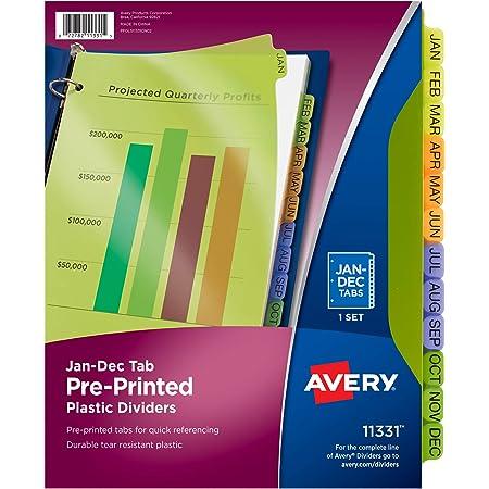 Avery Plastic Jan-Dec Tab Binder Dividers, Pre-Printed Multicolor Tabs, 12-Tab, 1 Set (11331)