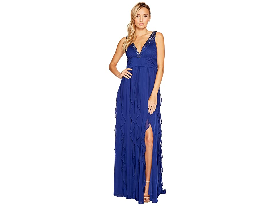 Adrianna Papell Shirred Stretch Tulle Gown (Blue Sapphire) Women