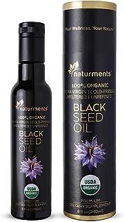 100% USDA Certified Organic Pure Black Cumin Seed Oil :: Cold Pressed for Potency :: Non GMO, Vegan, Gluten Free, Cruelty Free Nigella Sativa Oil in Light Blocking Bottle by Naturments 8 oz.