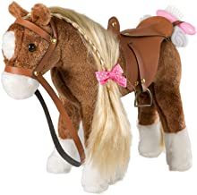 iBonny Plush Horse with Blond Hair Pretend Play Stuffed Animal Horse Toys for Girls