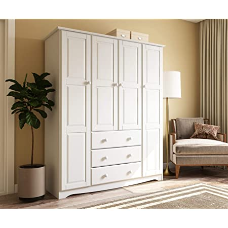 Amazon Com 100 Solid Wood Family Wardrobe Armoire Closet 5961 By Palace Imports White 60 W X 72 H X 21 D 3 Clothing Rods Included No Shelves Included Optional Shelves Sold Separately Kitchen