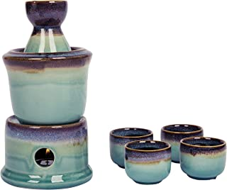 Japanese Style Ceramic Sake Serving Gift Set with Warmer, 7 Pcs, Purple